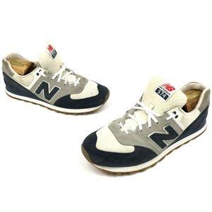 New balance 574 Men Cream White Blue Shoes 11.5